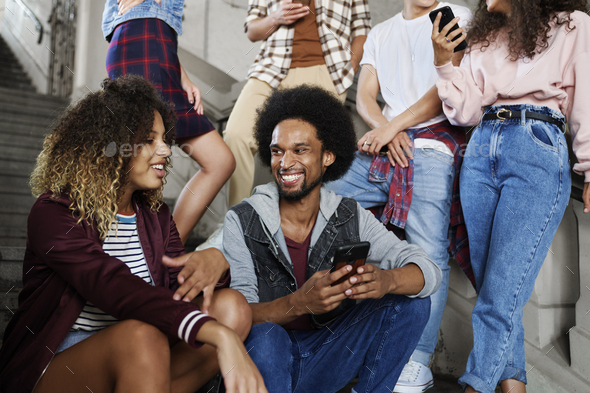 Group of young friends spending time together - Stock Photo - Images