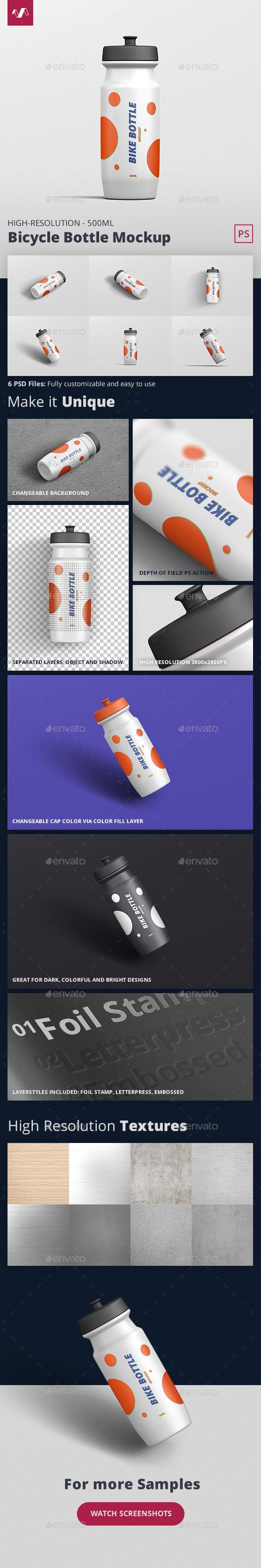Bicycle Bottle Mockup 500ml