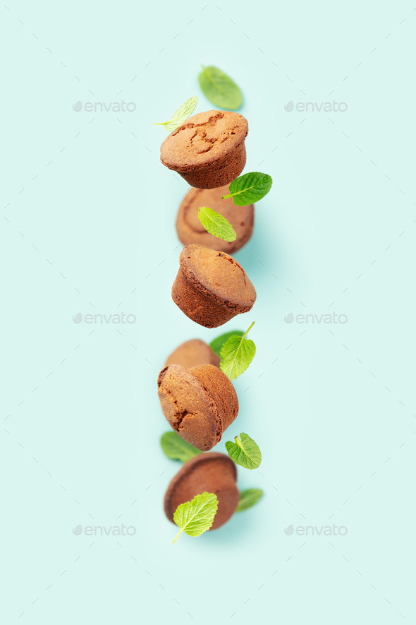 Chocolate muffins with mint leaves on blue background - Stock Photo - Images