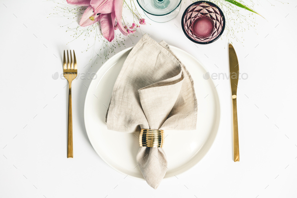 Elegant table setting with floral decor, flat lay - Stock Photo - Images