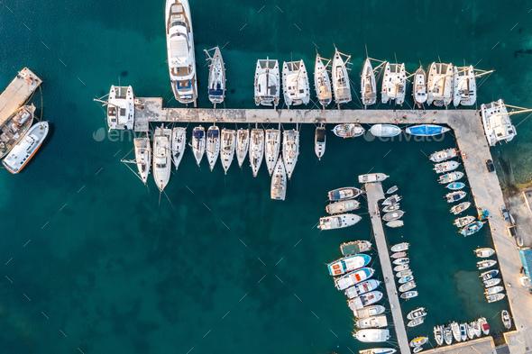 Paros island, Parikia marina port aerial drone view. Greece,  Cyclades. - Stock Photo - Images