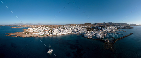 Paros island, Naousa cityscape panorama aerial drone view. Greece,  Cyclades. - Stock Photo - Images