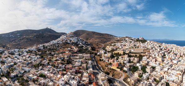Syros island, Hermoupolis cityscape panorama aerial drone view. Greece,  Cyclades. - Stock Photo - Images