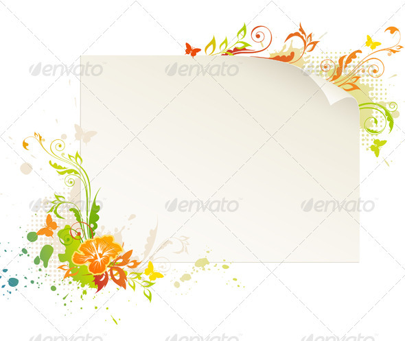 Paper with Flower - Backgrounds Decorative