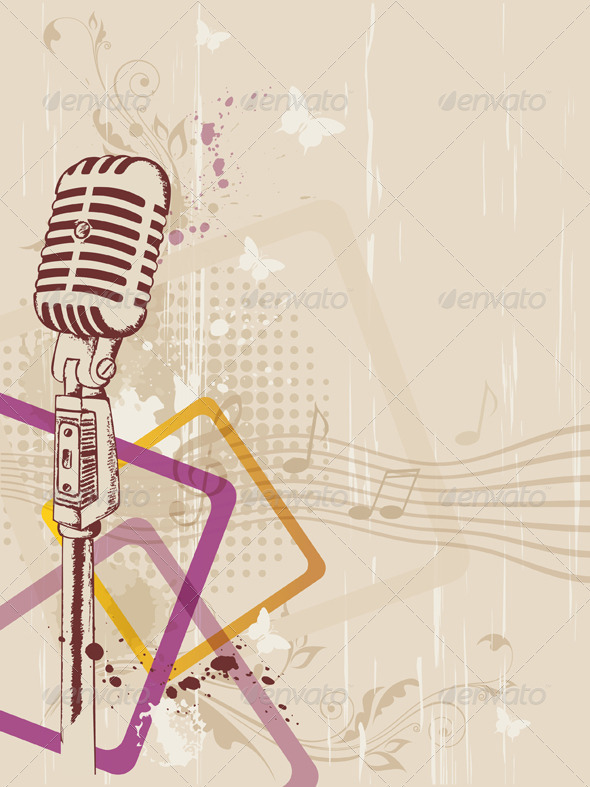 Retro Microphone - Backgrounds Decorative