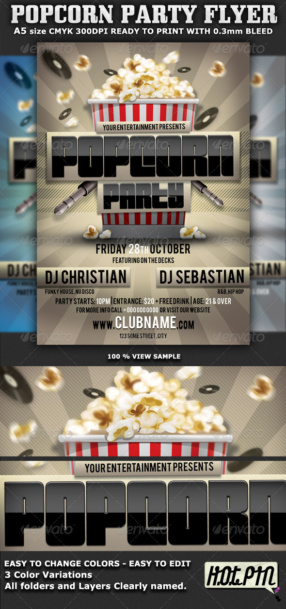 Popcorn Party Flyer Template - Clubs & Parties Events