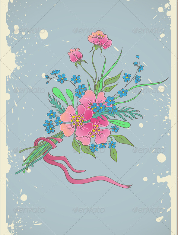 Vintage Floral Background - Characters Vectors
