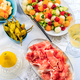 Cucumber and melon salad with raspberries and Prosciutto with grilled peppers - PhotoDune Item for Sale