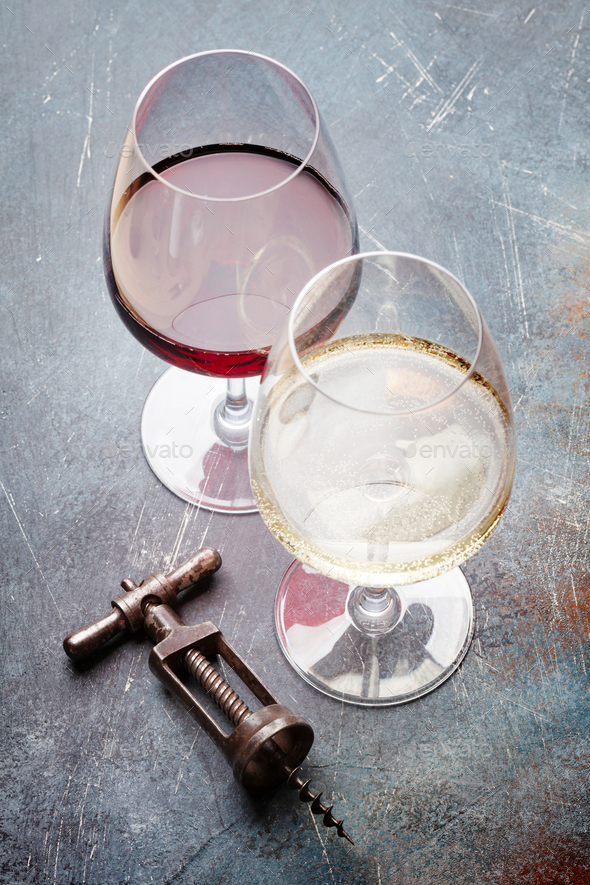 White and red wine glasses - Stock Photo - Images