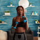 Athletic fit strong black woman working out with with dumbbells - PhotoDune Item for Sale