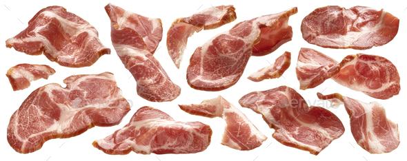 Sliced bacon on white background, raw ham strips - Stock Photo - Images