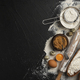 Baking ingredients for dough on black background - PhotoDune Item for Sale