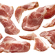 Sliced bacon on white background, raw ham strips - PhotoDune Item for Sale