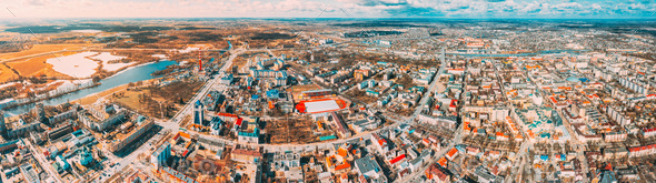 Brest, Belarus. Brest Cityscape Skyline In Spring Day. Bird's-eye View Of Residential Districts - Stock Photo - Images