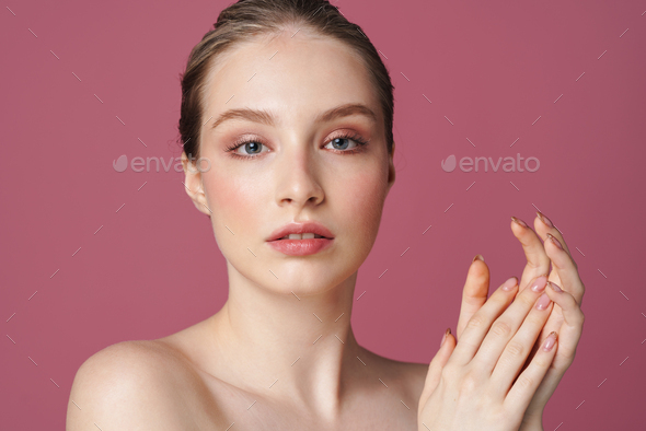 Portrait of beautiful young woman isolated - Stock Photo - Images