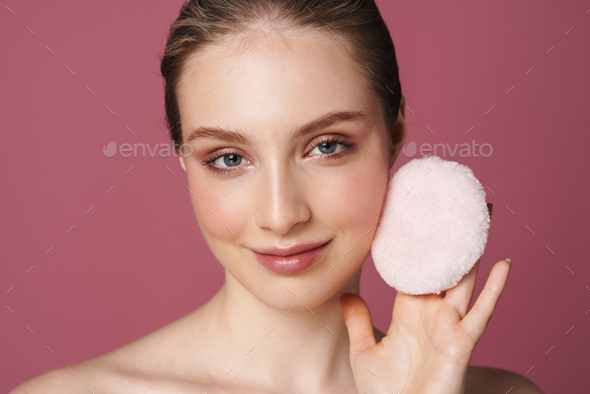 Beauty portrait of an attractive smiling sensual young woman - Stock Photo - Images