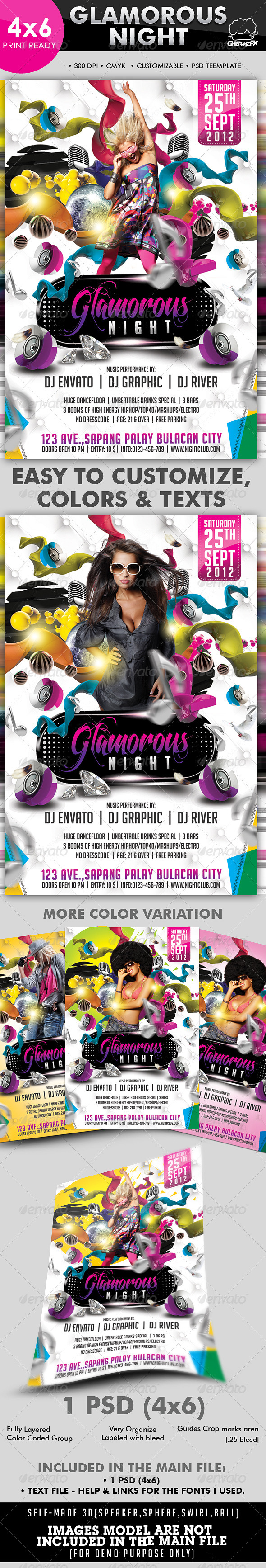Glamorous Night Party Flyer Template - Clubs & Parties Events