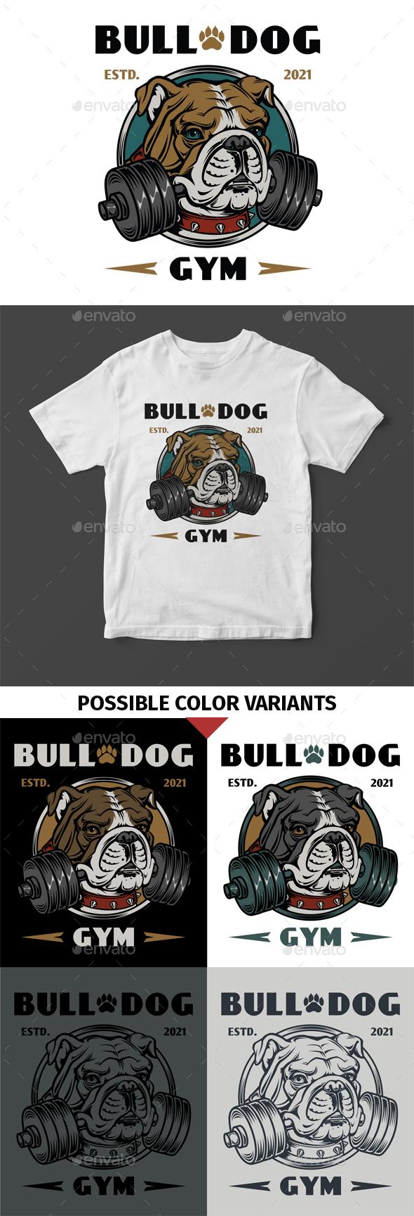 Bull Dog Gym T-Shirt Design