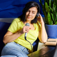 Cheerful woman in casual clothes Recording A Podcast - PhotoDune Item for Sale