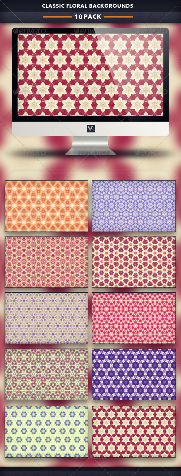 10 Pack - Classic Floral Backgrounds - Patterns Backgrounds