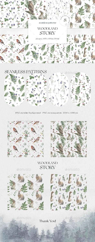 Woodland Story Watercolor Seamless Patterns