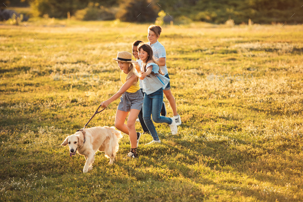 side view of happy multiethnic teenagers holding hands and running with dog in park - Stock Photo - Images