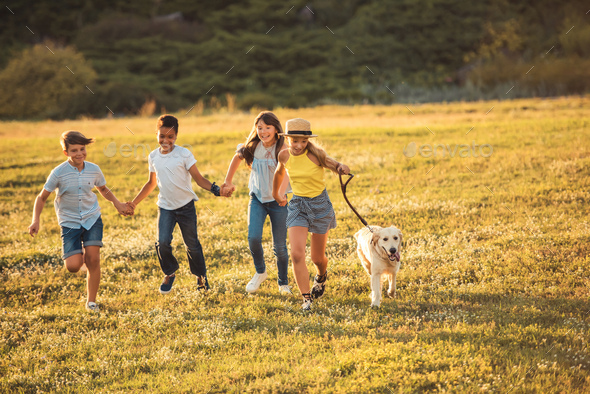 happy multiethnic teenagers holding hands and running with dog in park - Stock Photo - Images