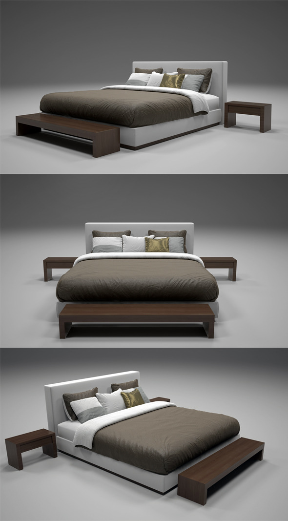 Realistic Bed Model with Materials 2 - 3DOcean Item for Sale