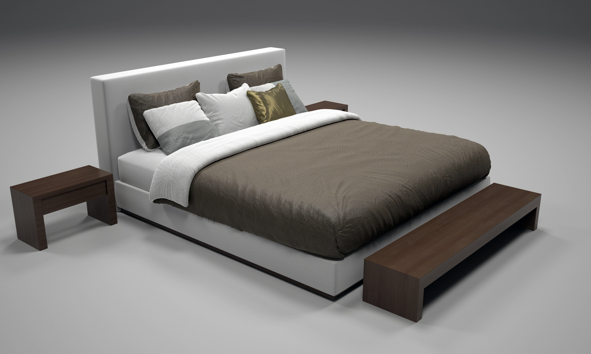 Realistic bed model with materials 2 by numetal 3docean for 3ds max bed model