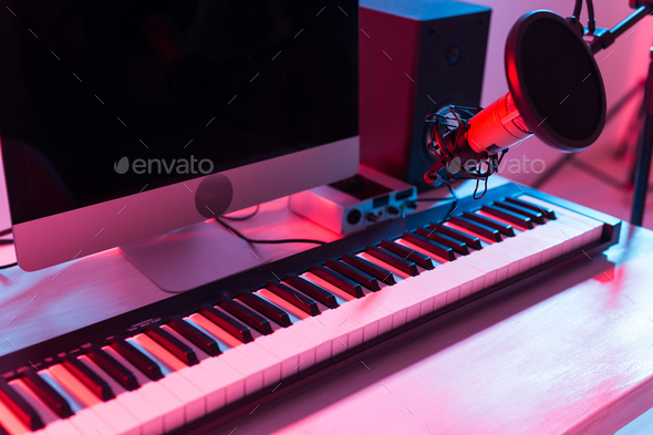 Synthesizer keyboard digital recording, home music record studio concept. Leisure and hobby concept. - Stock Photo - Images