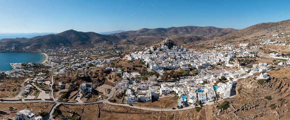 Ios island, Greece, Cyclades. Panoramic aerial drone view of Chora town - Stock Photo - Images