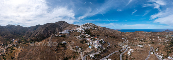 Serifos island, Greece, Cyclades. Panoramic aerial drone view of Chora town - Stock Photo - Images