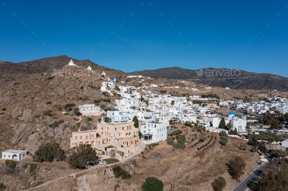 Cyclades, Greece. Ios island, aerial drone view of Chora town - Stock Photo - Images