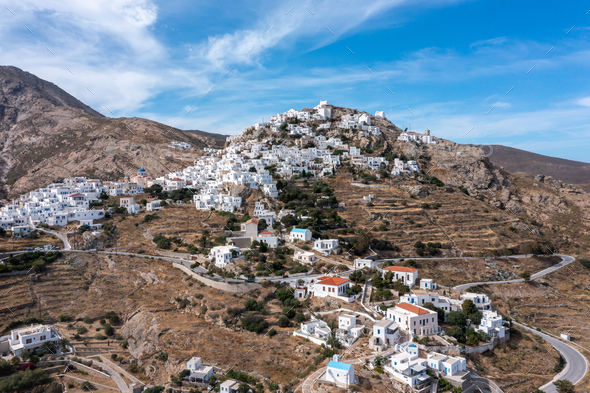 Cyclades, Greece. Serifos island, aerial drone view of Chora town - Stock Photo - Images
