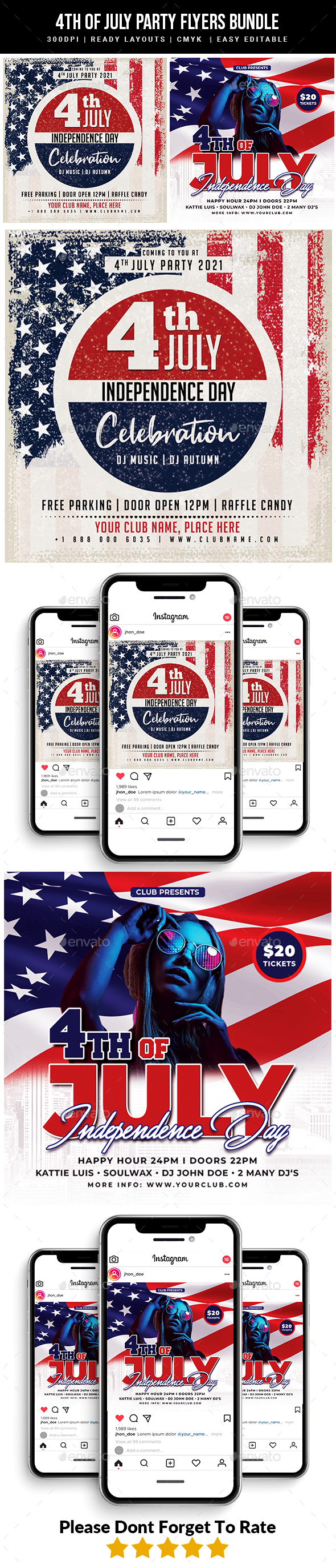 4th of July Party Flyers bundle