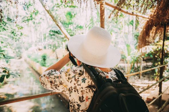 Goa, India. Young Backpacker Tourist Photographed Nature In Sahakar Spice Plantation - Stock Photo - Images