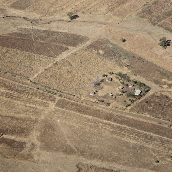 aerial view on a traditional masai village - Stock Photo - Images