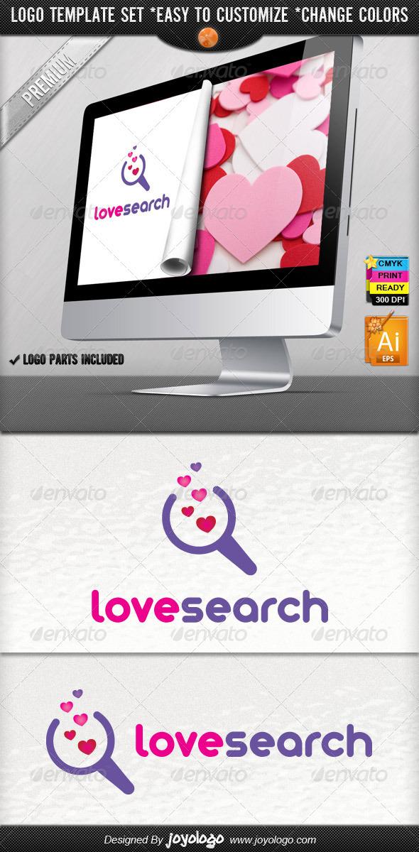 Bubble Hearts Social Media Love Search Logo Design - Symbols Logo Templates