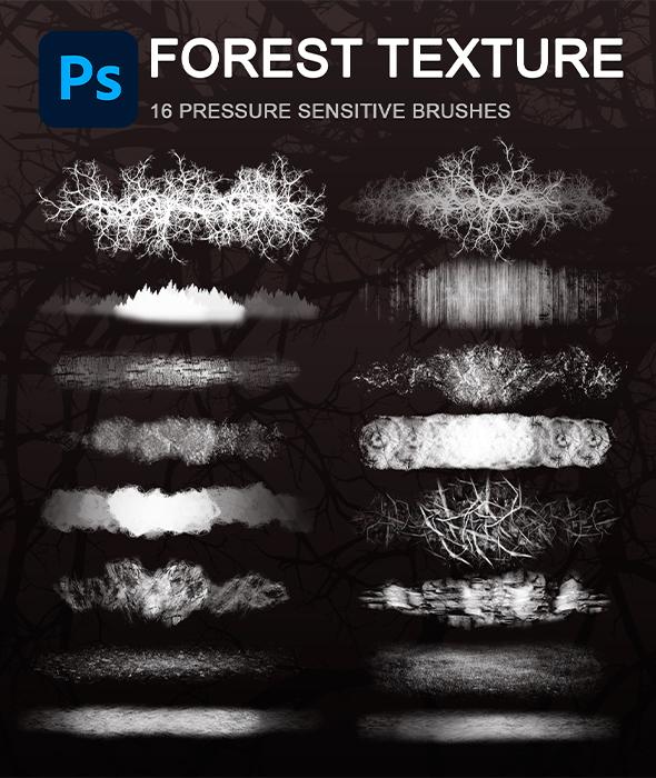 Forest texture photoshop brush set