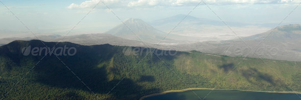 aerial view on african landscape - Stock Photo - Images