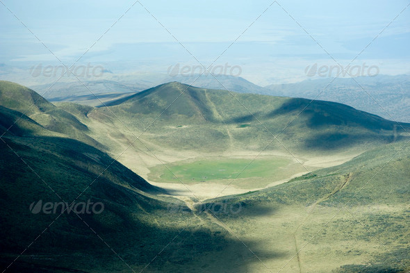 aerial view on a african crater - Stock Photo - Images