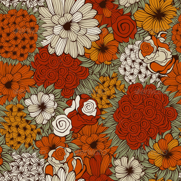 Vector Seamless  Pattern with Funky Flowers - Patterns Decorative
