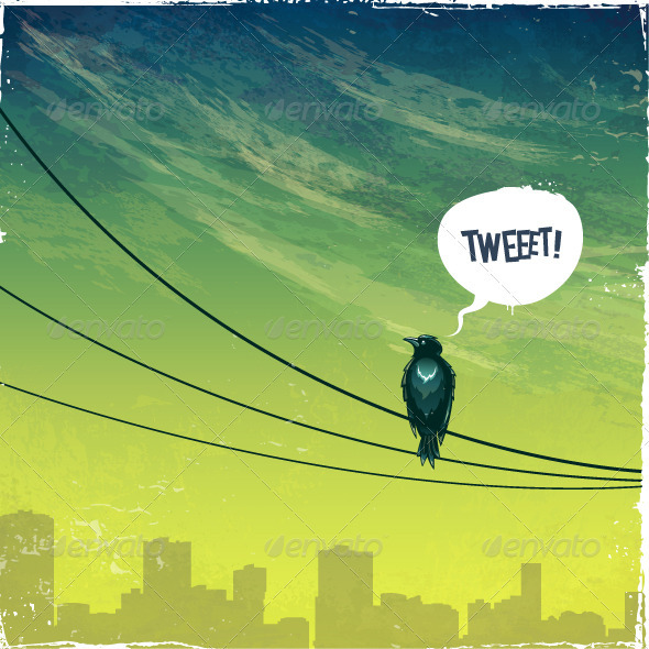 Bird on wire - Vectors