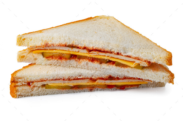 Two halves of a sandwich isolated on white - Stock Photo - Images