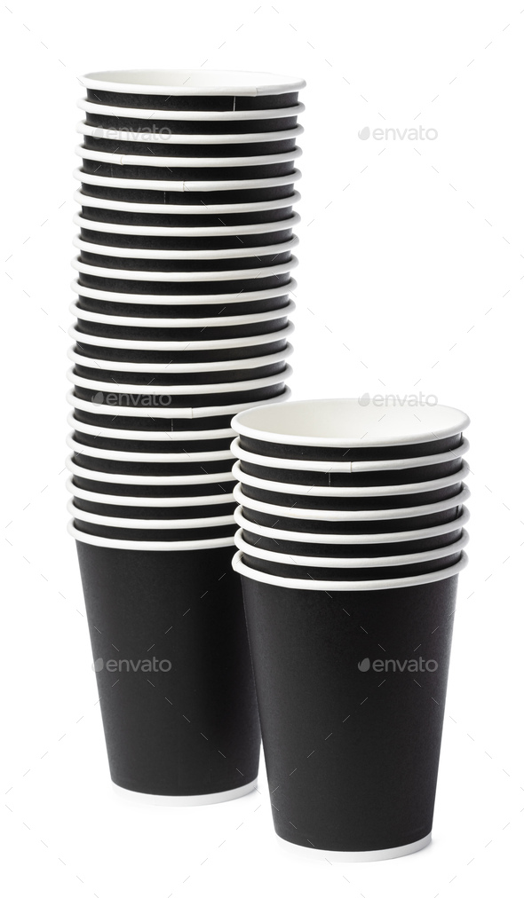 Disposable paper cups isolated on white background - Stock Photo - Images