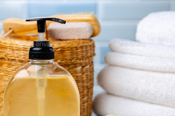 Liquid soap or body lotion set at hotel bathroom - Stock Photo - Images