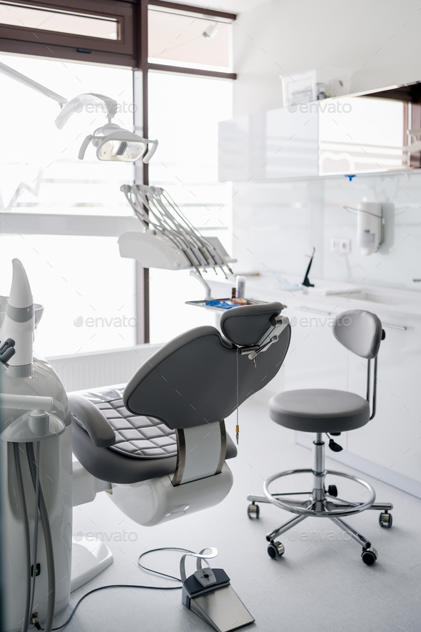 Dental chair and other accessories during Modern dental practice - Stock Photo - Images