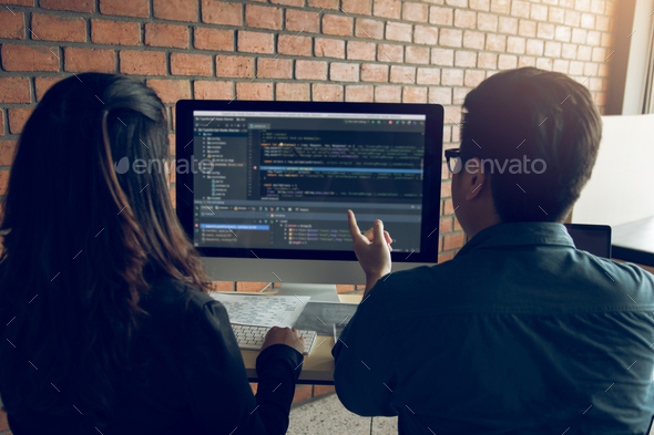 Developing programming and coding technologies working in a software engineers - Stock Photo - Images