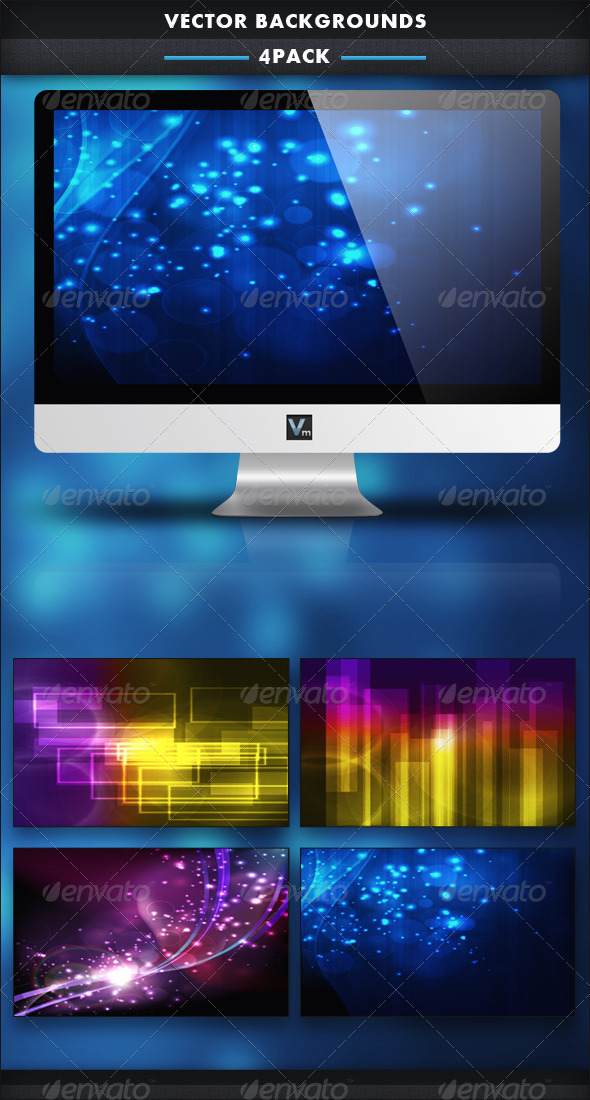 4 Pack - Vector Backgrounds - Backgrounds Decorative