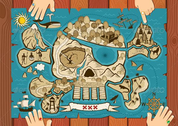 Treasure Map on Desk - Travel Conceptual